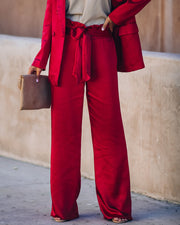 Celebrate Big Satin Tie Front Trousers - Red - FINAL SALE view 3