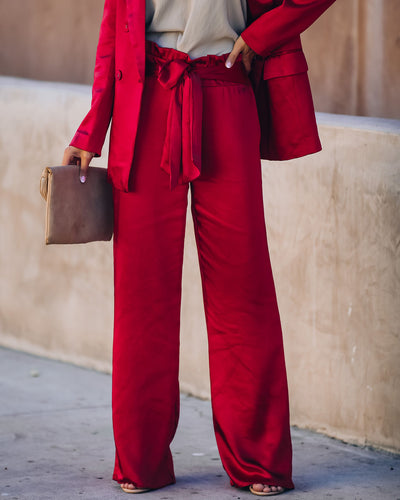 Celebrate Big Satin Tie Front Trousers - Red - FINAL SALE