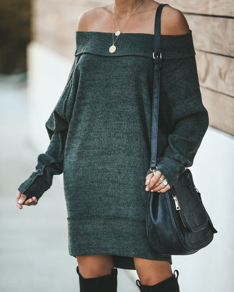 Honest To Goodness Off The Shoulder Sweater Dress - Olive