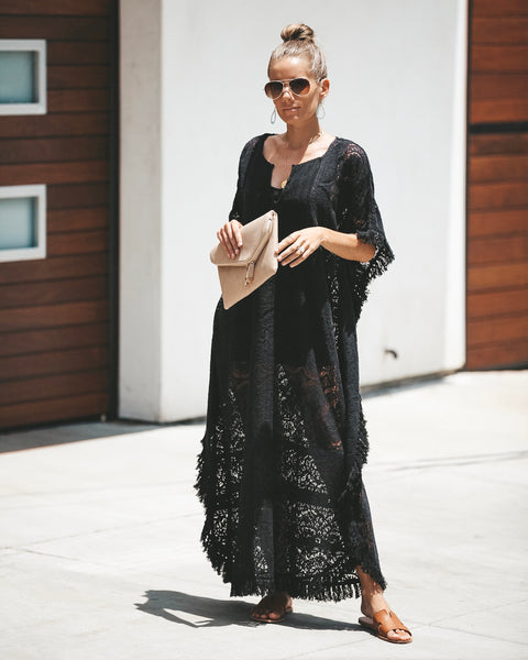 Vacay Of Your Dreams Lace Cotton Kaftan - Black - FINAL SALE