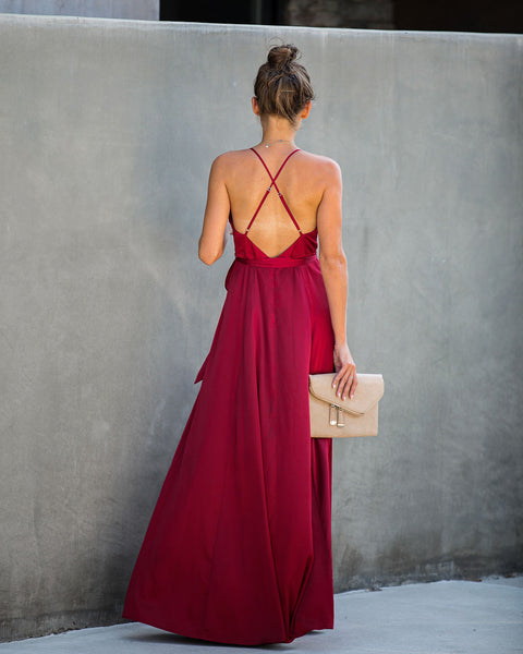 Weekend Plans Satin Maxi Dress - Brick Red - FINAL SALE