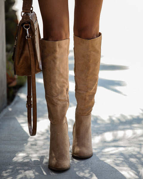 Dawn Faux Suede Heeled Boot - Toffee
