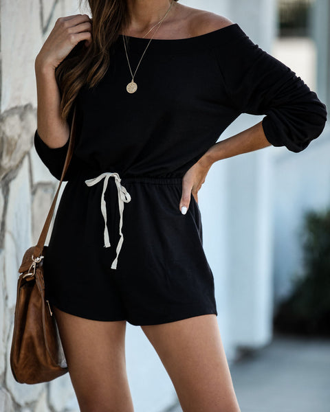 Close Friends Off The Shoulder Knit Romper