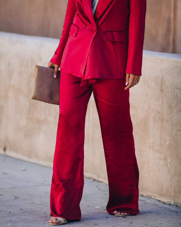 Celebrate Big Satin Tie Front Trousers - Red - FINAL SALE view 7