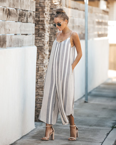 In Full Swing Pocketed Striped Jumpsuit