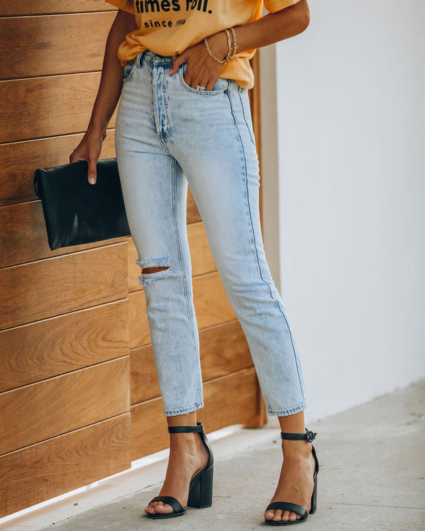 Lennon Distressed High Rise Denim