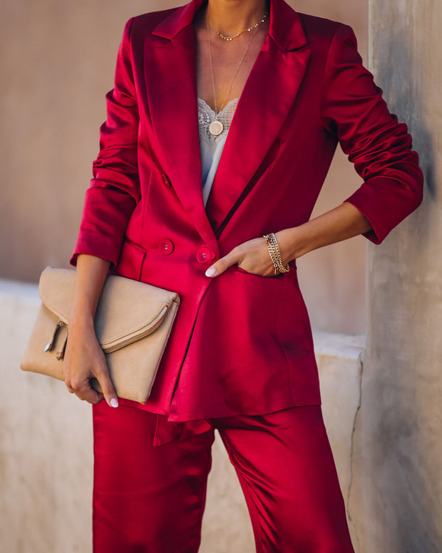 Celebrate Big Pocketed Satin Blazer - Red view 10