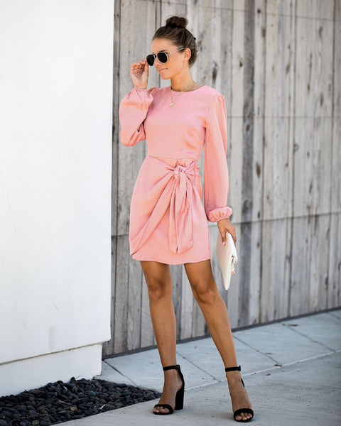 Cacey Satin Tie Dress - Salmon