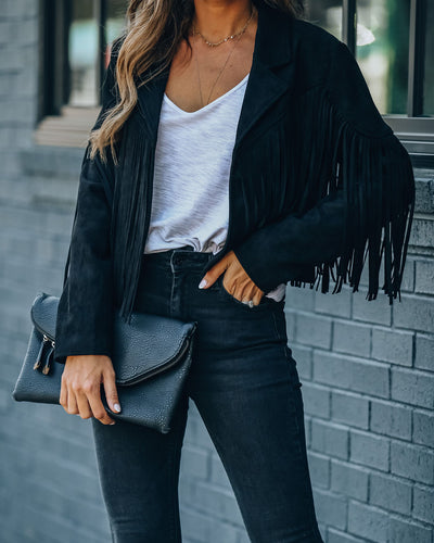 Walford Cropped Fringe Faux Suede Jacket - Black