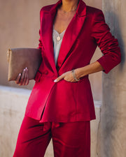 Celebrate Big Pocketed Satin Blazer - Red view 3