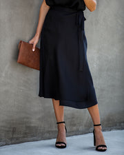 Sophisticated Living Textured Wrap Midi Skirt - Black - FINAL SALE