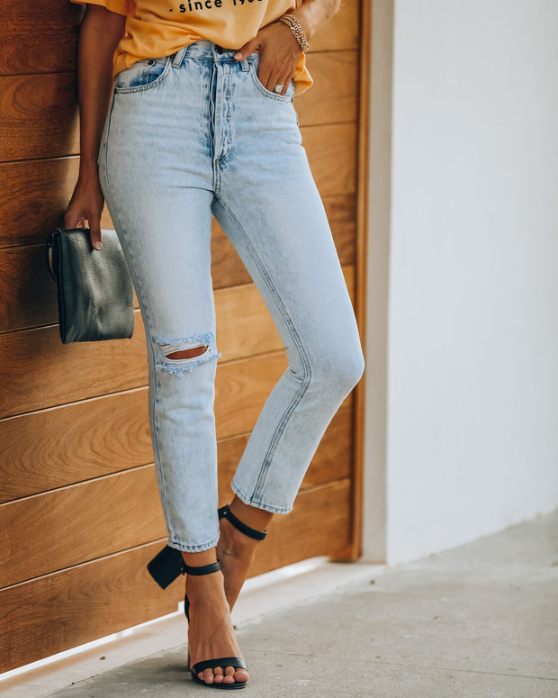 Lennon Distressed High Rise Denim view 5