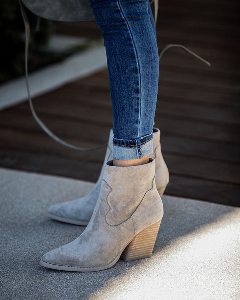 Saloon Faux Suede Heeled Bootie - Grey