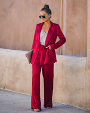 Celebrate Big Pocketed Satin Blazer - Red view 5