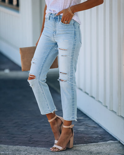 Melville High Rise Distressed Denim