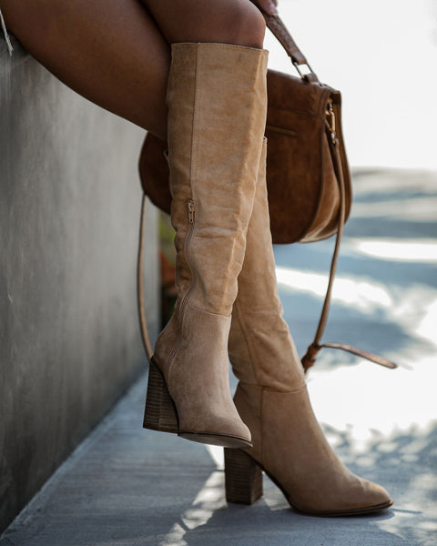 Dawn Faux Suede Heeled Boot - Toffee - FINAL SALE
