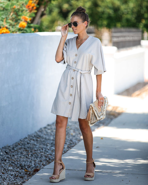 Corner Tavern Linen Blend Button Down Dress