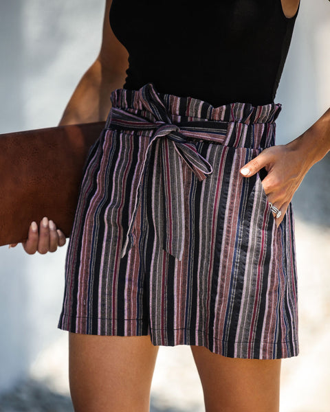 Don't Look Back Striped Cotton Pocketed Shorts