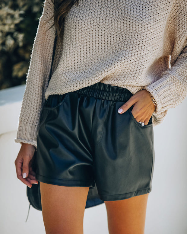 Issa Pocketed Faux Leather Shorts - Black