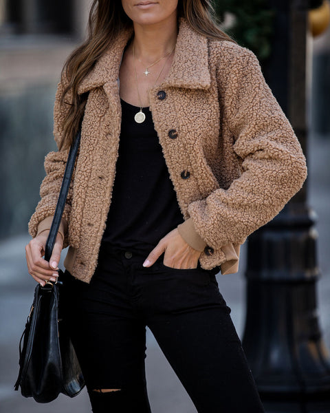 Kelsie Button Down Teddy Jacket