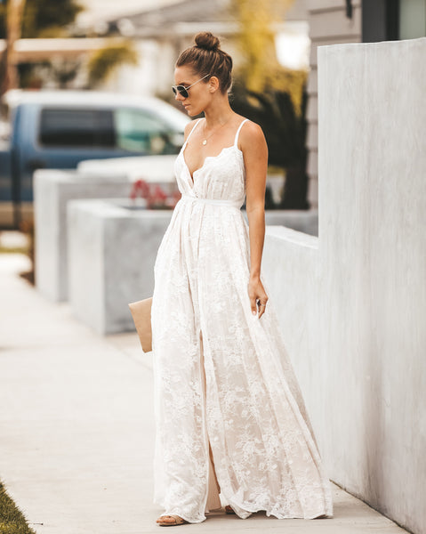 PREORDER - Sweet Devotion Convertible Lace Maxi Dress - White