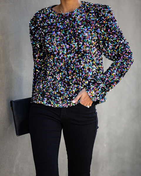 Soirée Long Sleeve Sequin Top