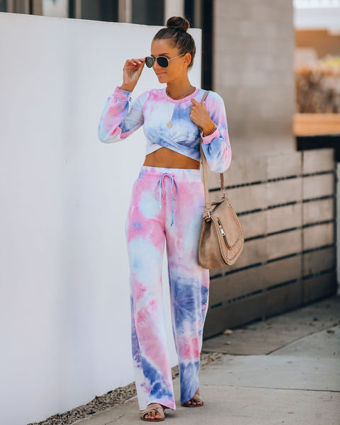 Extra Daylight Tie Dye Twist Knit Crop Top