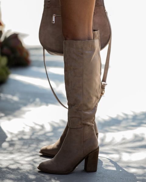 Dawn Faux Suede Heeled Boot - Taupe