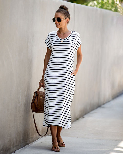 Top Shop Striped Pocketed T-Shirt Dress