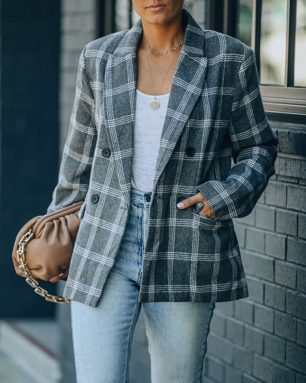 Becca Pocketed Plaid Blazer view 8