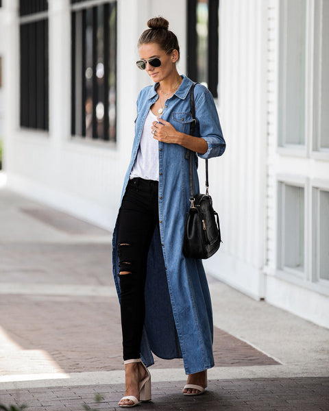 One Of These Days Button Down Denim Maxi Dress