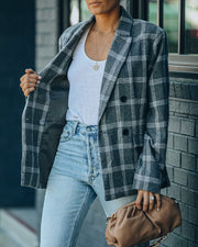 Becca Pocketed Plaid Blazer view 5