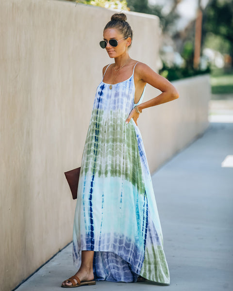 Myrtle Beach Tie Dye High Low Maxi Dress