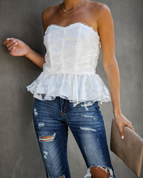 Our Song Strapless Peplum Top - White - FINAL SALE