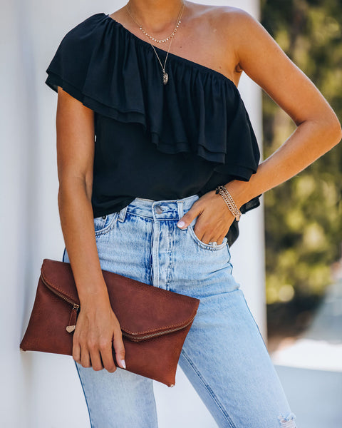 Isra One Shoulder Ruffle Blouse - Black
