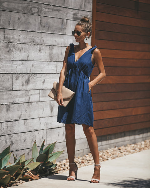 Country Roads Pocketed Dress - Navy - FINAL SALE