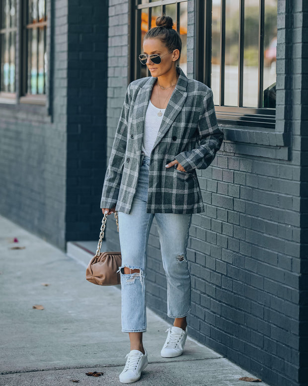 Becca Pocketed Plaid Blazer view 9