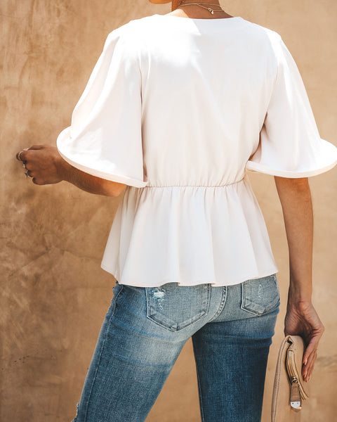 Fortune Favors The Bold Ruffle Sleeve Tie Front Blouse - Champagne - FINAL SALE