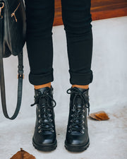 Czech Faux Leather Heeled Combat Boot view 8