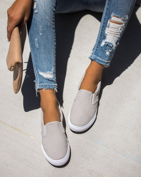 Raven Perforated Slip-On Sneakers - FINAL SALE