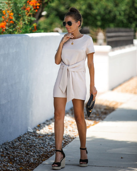 Risky Business Tie Front Romper - Taupe - FINAL SALE
