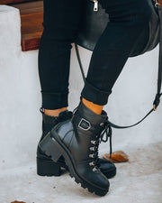 Czech Faux Leather Heeled Combat Boot view 11