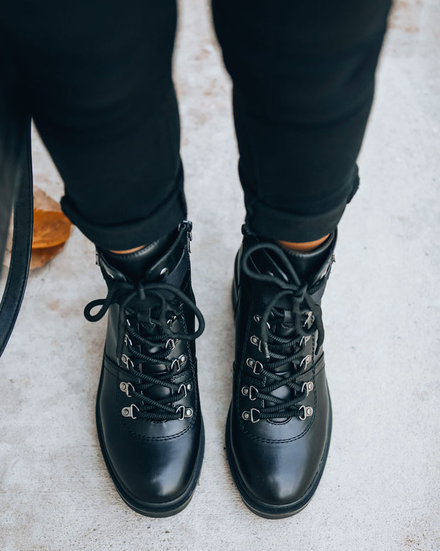 Czech Faux Leather Heeled Combat Boot