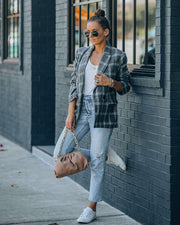 Becca Pocketed Plaid Blazer view 1
