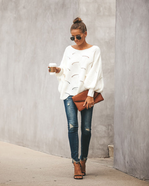 Noemi Dolman Knit Sweater - Off White