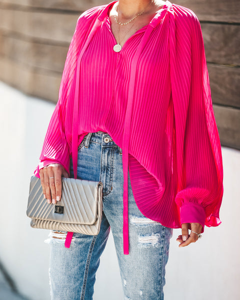 Set In Her Ways Pleated Chiffon Blouse - Pink