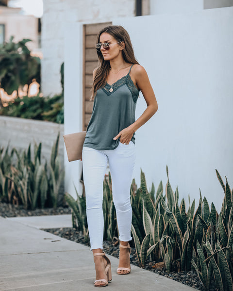 Homestyle Lace Knit Cami Tank - Teal