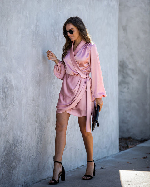 Miss Mistletoe Satin Wrap Dress - Blush