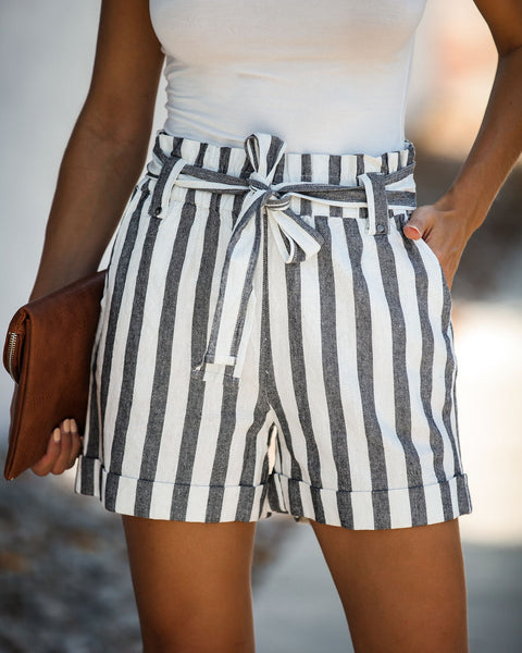 On Holiday Striped Cotton Pocketed Tie Shorts - FINAL SALE