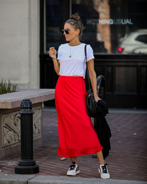 Moment Of Love Midi Skirt - Red - FINAL SALE